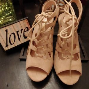 Wild diva lace up wedges